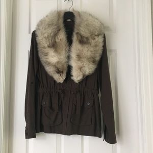 Real white fur collar for coat or jacket